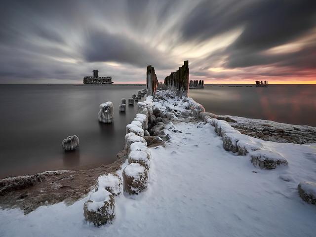 Zimowy wschód słynna Torpedownia w kolejnej zimowej odsłonie ,